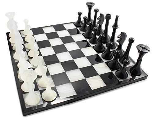 LUHOM LUJOSO HOGAR MEXICO Edles Schachspiel aus schwarzem Naturmarmor und weißem Onyx, 35 cm x 35 cm groß