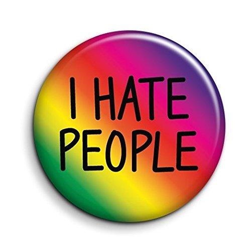 Imán para nevera con botón I Hate People – Pequeño imán divertido – Imán antisocial broma – Imán novedoso para tablón de anuncios – Pequeño regalo de cumpleaños – Imán de misántropo – Mini imán