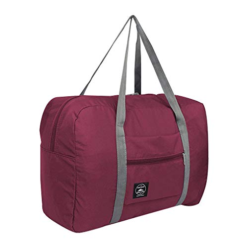 Techting Foldable Travel Storage Bag Portable Nylon Tote Luggage Case Suitcase Portable Nylon Suitcase Clothes Organizer, Wine Red