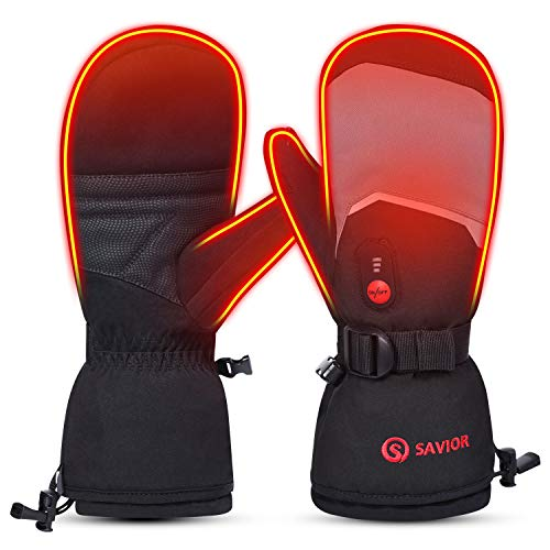 SAVIOR HEAT 2020 Heated Mittens for Men Women, 7.4V 2200mAh Electric Rechargeable Battery Thermal Gloves for Winter Skiing Skating Snow Camping Hiking (Grey, M)