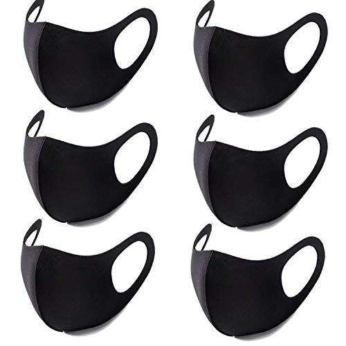 Vintoney マスク 黒 6枚入 ポリウレタン製マスク 小さめ 立体快適 紫外線対策 自転車 マスク 男女兼用