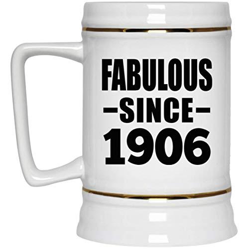 114th Birthday Fabulous Since 1906-22oz Beer Stein Jarra de Cerveza, de Cerámica - Regalo para Cumpleaños Aniversario el Día de la Madre o del Padre