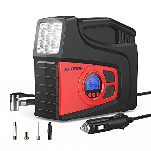 Meterk Compresor Aire Coche,12V Inflador Coches Portatil,Inflador Ruedas Coche,Compresores Adecuados para Automóviles y Otros Equipos,Luces LED