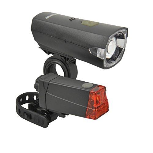 FISCHER LED-Beleuchtungsset, 20 Lux Frontlicht, LED Rücklicht, universelle Halterung, 50.000 Stunden Lebensdauer