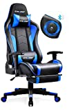 Gtracing Gaming Chair with Footrest and Bluetooth Speakers Music Video Game Chair Heavy Duty Ergonomic Computer Office Desk Chair Blue