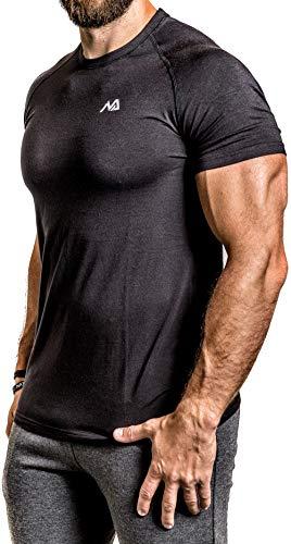 Herren Fitness T-Shirt modal - Männer Kurzarm Shirt für Gym & Training - Passform Slim-Fit, lang mit Rundhals, Schwarz, XL