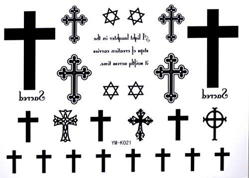 Cross Temporary Tattoos Letters Waterproof Tattoo Stickers Cross Hexagram Fake Tattoo
