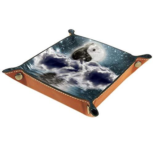 FURINKAZAN Bandeja de valet para cambio de mesita de noche, caja de almacenamiento Moon Yin Yang