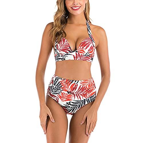 Costume da bagno da donna a due pezzi Retro Halter a vita alta Bikini Split Costumi da bagno, stile C, S