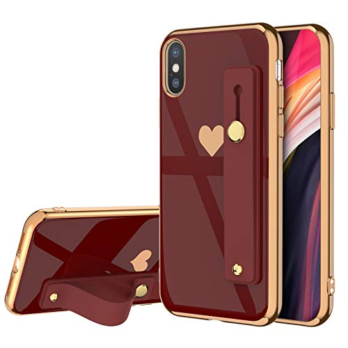 EYZUTAK Case for iPhone 7 Plus iPhone 8 Plus,Soft Silicone TPU Slim Case Electroplated Heart Case Shockproof Phone Case with Wristband Kickstand Phone Loop Finger Holder Strap-Red Case