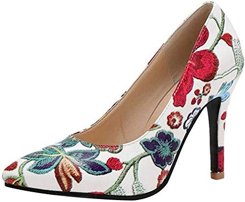 RAZAMAZA Mujer Moda Tacón de Aguja Fiesta Vestido Zapatos Tacón Alto Pumps sin Cordones Bombas Zapatos Floral Impresión Blue Talla 40 Asian