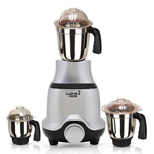 Gemini BUTSLV21 1000-Watt Mixer Grinder with 3 Jars -1 Wet Jar, 1 Dry Jar and 1 Chutney Jar, Silver Make in India (ISI Certified)