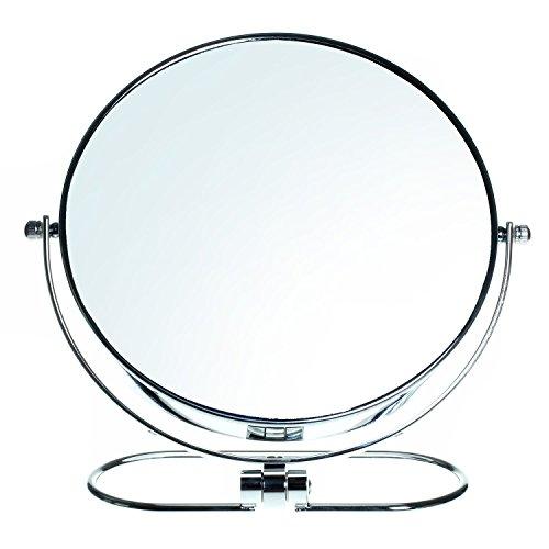 HIMRY Faltbare Doppelseitig Kosmetik Spiegel 8 inch, 10x Vergrößerung, 360° drehbar. Kosmetikspiegel Tischspiegel, 2 Spiegel: normal und 10 - Fach Vergrößerung, verchromten, KXD3125-10x