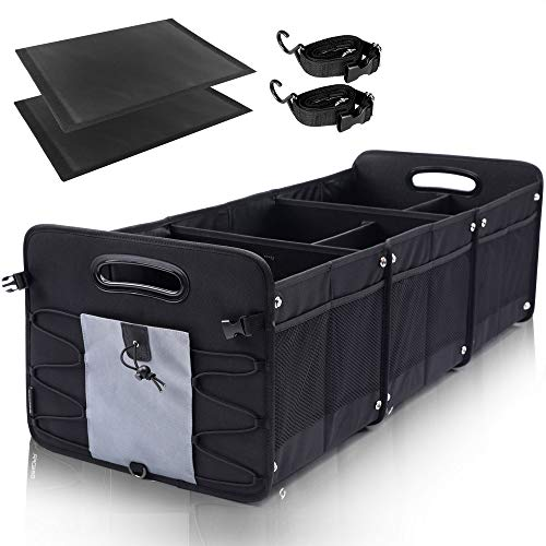 GEEDAR Large Trunk Organizer Car Organizers and Storage for SUV 3 Compartments Collapsible Portable NonSlip Bottom Tie Down Straps Gray