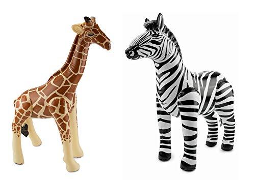 Große aufblasbare Giraffe und aufblasbares Zebra im Set Strandspielzeug Partydeko