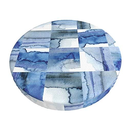 Funda De Cojín para Silla De Bar Redonda Azulejos De Acuarela De Cobalto Azul Y Blanco Diseño De Barra Redonda Funda De Cojín para Silla Funda De Asiento Suave Antideslizante Protector Elástico