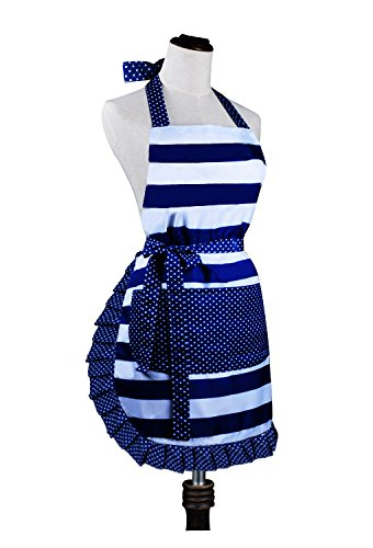 Lovely Lady's Kitchen Fashion Cooking Baking Kitchen Aprons with Pockets for Mother's Day Gift, plus size apron (31 x 28 Inches)
