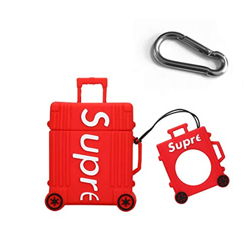 AKXOMY with AirPods Case Trunk Keychain Full Protective Premium Silicone Cover Fashion Self-Custom Off White Style Skin for AirPods Suitcase Case Cool Fun Girls Teens Boys Men(Red)