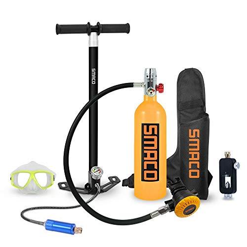 WEIFAN Equipo de Tanque de oxígeno de Buceo Mini Cilindro 15-20 Minutos Adaptador de Recarga del Tanque Entrenamiento de respiración + Bolsa de respirador/Convertidor de Buceo/Bomba/Gafas