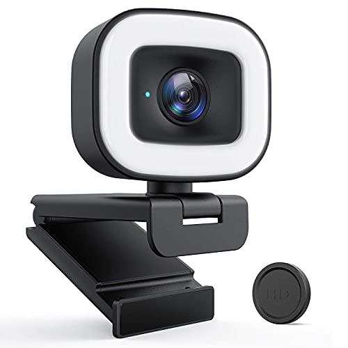 1080P HD Streaming Webcam mit Ringlicht, 60f/s PC Kamera mit Objektivdeckel/Autofokus/Stereo Mikrofon für Computers, Video Chat und Aufnahme unter Skype/Zoom/YouTube/Facebook, Schwarz