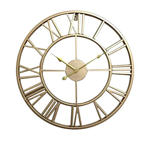 Fnho Oficina Estar Reloj de Pared Mute,Reloj de Pared silencioso diámetro maquinaria,Reloj de Pared Mudo de Moda, Dormitorio Hierro Forjado-Gold_40cm Aguja de Oro