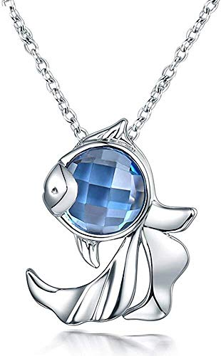 necklace Ladies fashion Solid 18ct White Gold Natural Blue Topaz pendant birthday gift fish fine jewelry design Hoisting