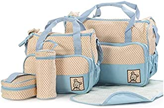 5pcs Baby Diaper Bag Suits For Mummy Bag Baby Bottle Holder Stroller Maternity Nappy Bags Sets Easy to Carry