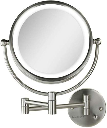 Ovente Lighted Wall Mounted Makeup Mirrors 8.5 Inch 1X 7X Magnifying 360 Degree Double Side Ring LED Dimmer Switch Extended Arm Round Large Hardwire Installation Required Nickel Brushed MPWD3185BR1X7X