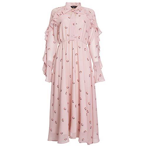 Vestido de Noche para Mujer Estampado de Gasa con Cuello de Mariposa y Falda con Borde de Hoja de Loto Ailin Home (Color : Pink, Tamaño : XS)