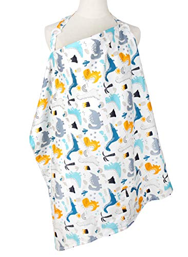 Nursing Cover with Burp Cloth & Pocket, Nursing Apron for Breastfeeding-Large Cotton Breathable Privacy Feeding Covers, No See Through Apron Cover Ups for Breastfeeding Baby Mom Gifts
