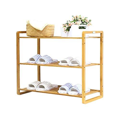 LHQ-HQ - Zapatero apilable de bambú, 3 niveles, armario de almacenamiento para entrada ajustable, antipolvo de madera, para montar