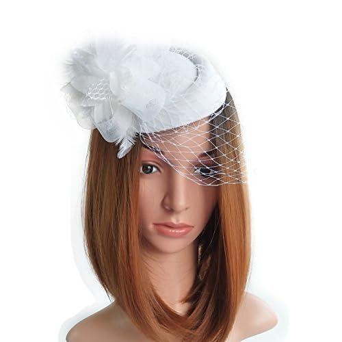 Coolwife Fascinator Hats Pillbox Hat British Bowler Hat Flower Veil Wedding  Hat Tea Party Hat ec7ec9a1805
