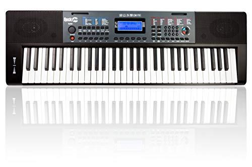 RockJam 88 teclas para principiantes piano digital con teclas semipesadas de tamaño completo, fuente de alimentación, simplemente piano App contenido y notas clave, negro
