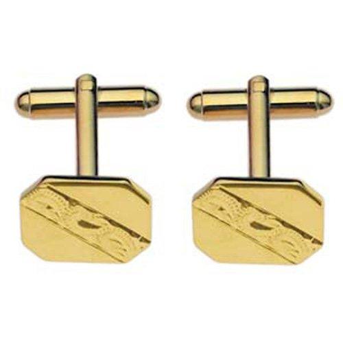 British Jewellery Workshops Boutons de Manchettes 11x15mm en plaqué Or coupés aux Coins et gravés à la Main