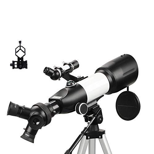 Telescopio para niños adultos principiantes, 80 mm de apertura 400 mm BAK4 Prism FMC Lente 3 en 1 Oculares Telescopio refractor para astronomía con soporte para teléfono inteligente y trípode y co