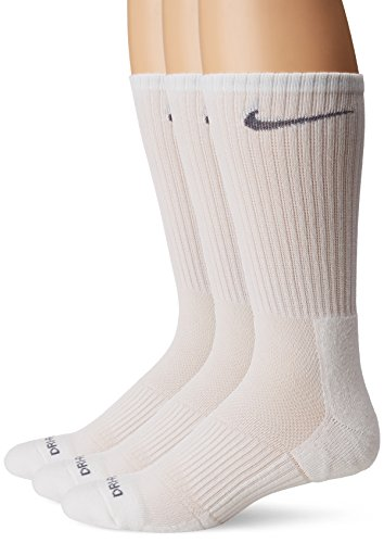 Nike Men's 3-pk Dri-fit Cushioned Crew Socks Made In USA , White , Large 8-12