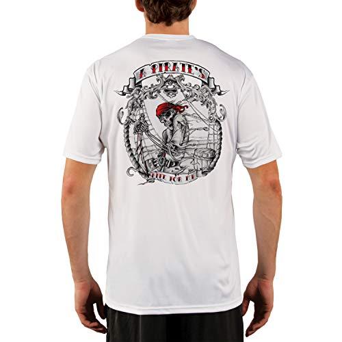 SAND.SALT.SURF.SUN. Pirate Life Men's UPF 50+ UV Sun Protection Performance Short Sleeve T-Shirt XXX-Large White