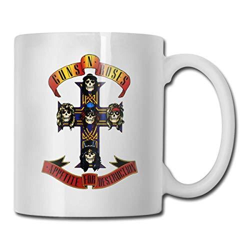 N\A Taza Guns Roses Taza de café Taza de té Tazas de Vino Novedad Taza Divertida Tazas de cerámica Blanca Taza Grande con asa en C Taza con impresión a Doble Cara