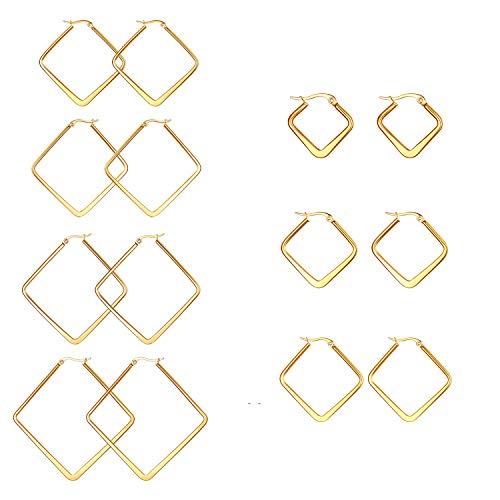JewelryWe Schmuck 7 Paar Damen Ohrringe Edelstahl Poliert große Quadrat Viereck Geometrie Hoop Creolen Ohrstecker Gold 20mm~50mm
