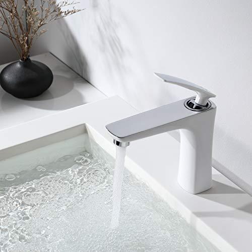 CECIPA Grifo Lavabo Cromado + Blanco, Grifo Baño de Latón con Agua Fría y Caliente, Mezclador para Lavabo con Burbuja NEOPERL para Baño, Fácil de Instalar