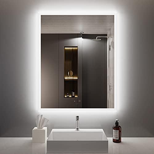 GANPE 32 in.W x 40 in.H Motion Sensor LED Bathroom Mirror with Bluetooth