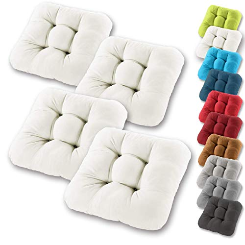 Gräfenstayn Set de 4 Cojines de Asiento cojín de Silla 38x38x8cm para Interior y Exterior - Funda de algodón 100% - Muchos Colores - Acolchado Grueso/cojín de Suelo (Crema)