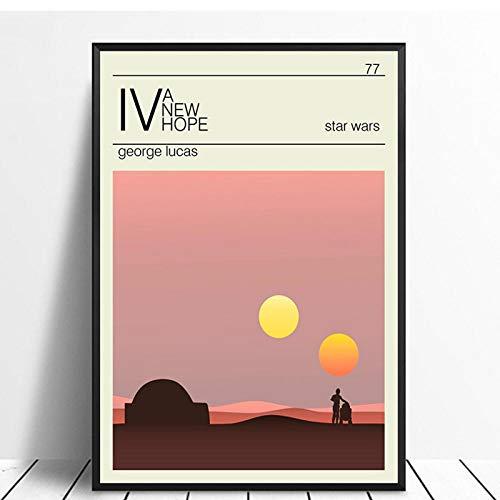 TeriliziEin Neues Hoffnungsplakat Star Wars Trilogie Minimalistischer Vintage Filmplakat Wohnkultur Wanddekoration Wandkunst Leinwandmalerei Leinwanddruck-50X75Cm Kein Rahmen