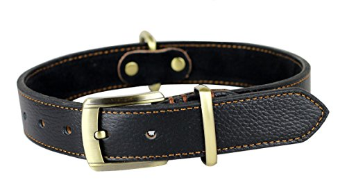 Rantow Fatto a Mano in Pelle Collare Regolabile per Cani, Formato del Collo 43 Centimetri per 53 Centimetri e Largo Tre Centimetri, Duro Collare in Pelle Nera per Le Medie/Cani di Taglia Grande