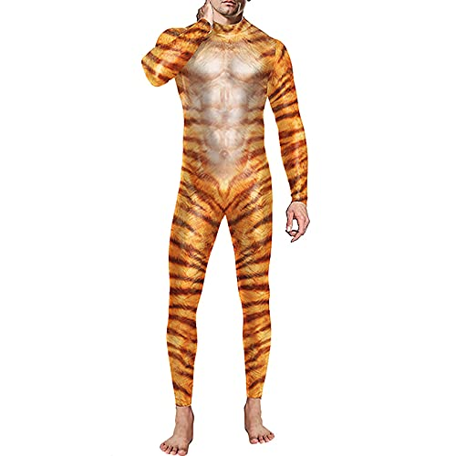 BIONIO Skeleton Halloween Costume for Men,Jumpsuit Luminous Skull Skin Full Body Tights Suit Bone Suit Adult Costume Yellow