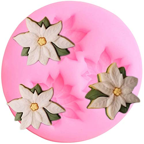SKJH Poinsettia Flower Silicone Mold Cupcake Topper Fondant Molds Christmas Cake Decorating Tools Candy Clay Chocolate Gumpaste Mould