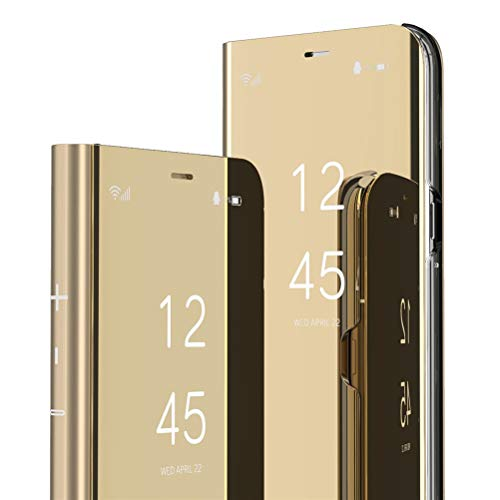 QIVSTARS Case for Samsung Galaxy S8 Plus Cool Style Clear View Window Electroplate Plating Stand Scratchproof Full Body Protective Flip Ultra Slim Cover for Samsung Galaxy S8 Plus PU Mirror:Golden QH