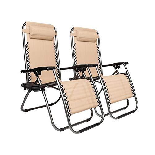 Chair HDS Zero Gravity avec Support d'oreiller et la Coupe Patio extérieur Chaises Pliantes for Pont Patio Plage Jardin (Color : Khaki)