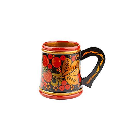 Taza de Cerveza Khokhloma Hecho a mano en Rusia Vajilla tradicional Vintage Retro Clásico Hohloma pintado Soviético Regalo de arte popular Lacado de madera natural