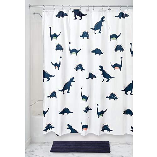 iDesign Dinosaurier Badewannenvorhang mit urzeitlichem Motiv, Duschvorhang aus wasserabweisendem Polyester, Spritzschutz für die Dusche oder Badewanne, blau